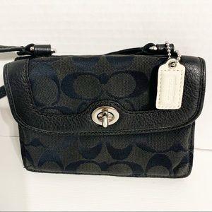 Coach Monogram Fabric Crossbody Wallet Purse Black
